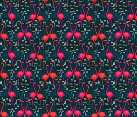Flamingo - Dark Navy Blue fabric by andrea_lauren on Spoonflower - custom fabric