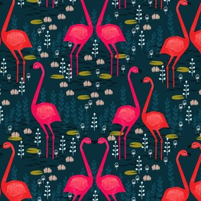 Flamingo - Dark Navy Blue