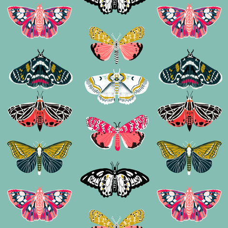 Moths // butterflies moths lepidoptery insects wings print fabric by andrea_lauren on Spoonflower - custom fabric