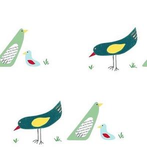 bird family on white background