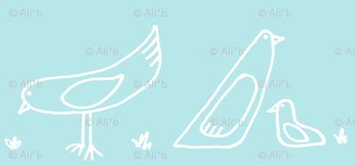bird repeat in sky blue
