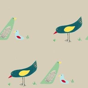 bird family on tan background