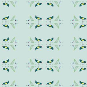 flock of birds on sky blue