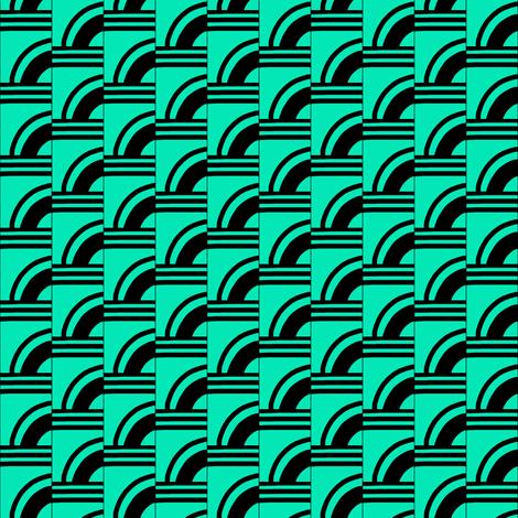 Art Deco Aqua Quarter Moons fabric by eve_catt_art on Spoonflower - custom fabric