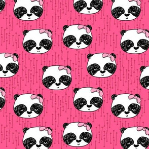 Panda with Bow - Bright Pink (Small Version) by Andrea Lauren
