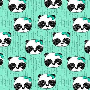 Panda with Bow - Pistachio (Smaller Version) by Andrea Lauren