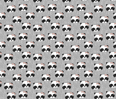 Panda with Bow - Slate (Smaller Version) by Andrea Lauren fabric by andrea_lauren on Spoonflower - custom fabric