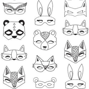 Animal Masks - Black and White by Andrea Lauren