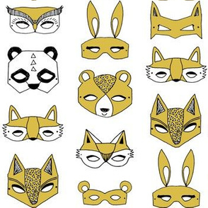 Animal Masks - Mustard by Andrea Lauren