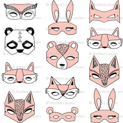 animal masks // pink dress up play kids cute girls
