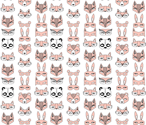 animal masks // pink dress up play kids cute girls fabric by andrea_lauren on Spoonflower - custom fabric