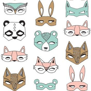Animal Masks - Pale Turquoise, Pale Pink, Pastels by Andrea Lauren