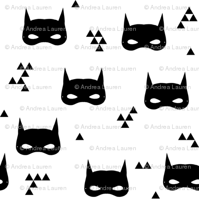 bat mask // black and white baby superhero comic nursery kids triangle
