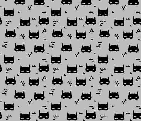 bat mask // grey superhero kids triangle nursery baby fabric by andrea_lauren on Spoonflower - custom fabric
