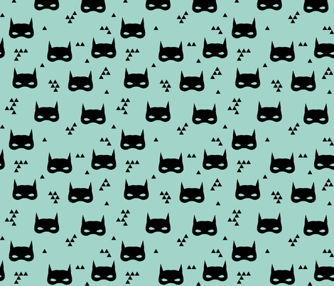 bat mask // mint super hero mint triangles kids baby nursery fabric by andrea_lauren on Spoonflower - custom fabric