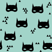 bat mask // mint super hero mint triangles kids baby nursery