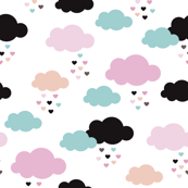 Colorful scandinavian style modern clouds and hearts for girls