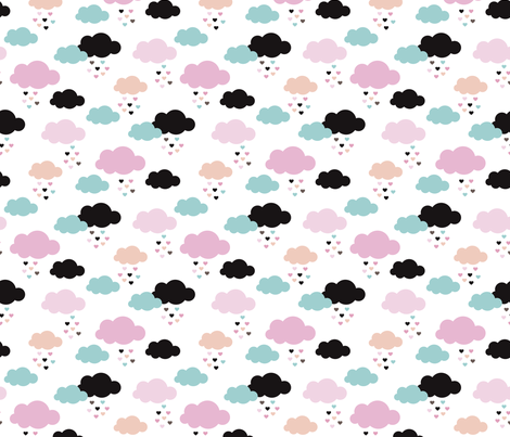 Colorful scandinavian style modern clouds and hearts for girls fabric by littlesmilemakers on Spoonflower - custom fabric