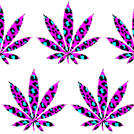 Leopard Marijuana Leaf fabric by dazeddandelion on Spoonflower - custom fabric