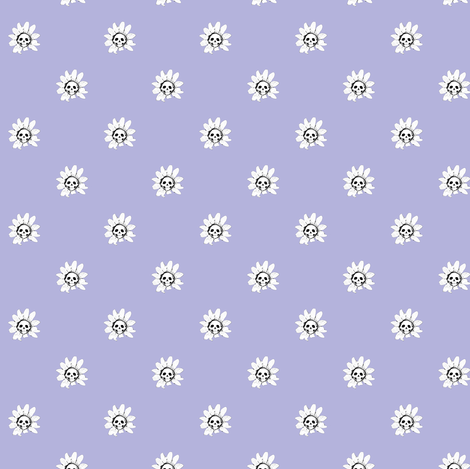 Skull Daisies on Lavender fabric by littlemisscrow on Spoonflower - custom fabric