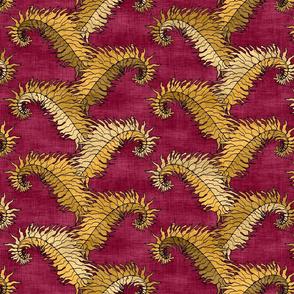 Golden Fern Stripe Red