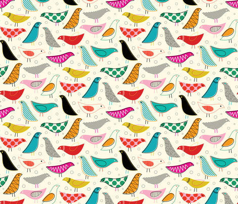 A Nod to The House Bird - 50% Scale fabric by katerhees on Spoonflower - custom fabric