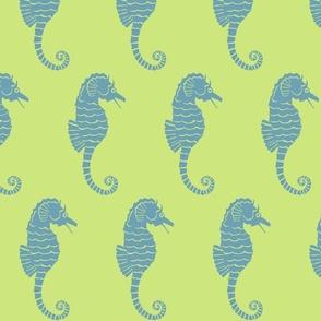 Seahorse XL sea blue on celery-2015