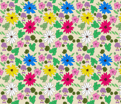 Daisy and Ivy, strong colourway fabric by amanda_jane_textiles on Spoonflower - custom fabric