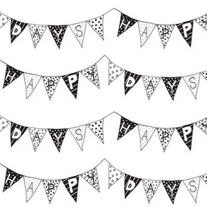 Happy Days Bunting bw