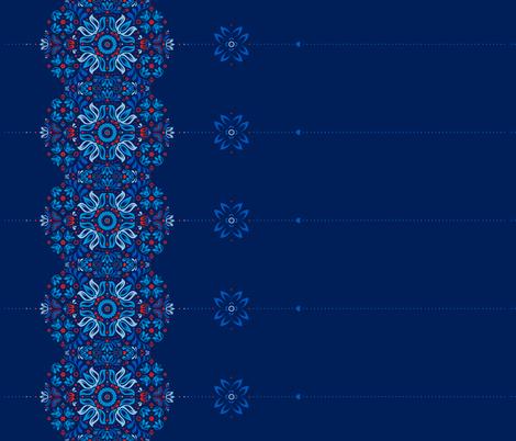 Folk Border in Navy fabric by swissette on Spoonflower - custom fabric