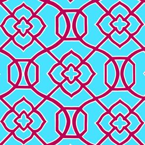 Moroccan_Lattice-_Aqua_Blue_and_Red