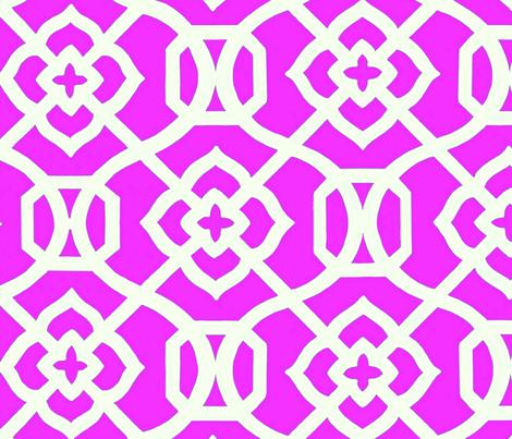 Moroccan_Lattice-_Bright_Pink___white fabric by creativeworksstudios on Spoonflower - custom fabric