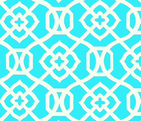 Moroccan_Lattice-_Turquois_and_white fabric by creativeworksstudios on Spoonflower - custom fabric