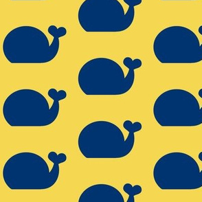 Whale - Navy Blue and Sunny Yellow