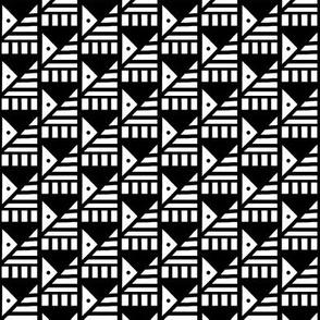 Tilted Pyramids Black White