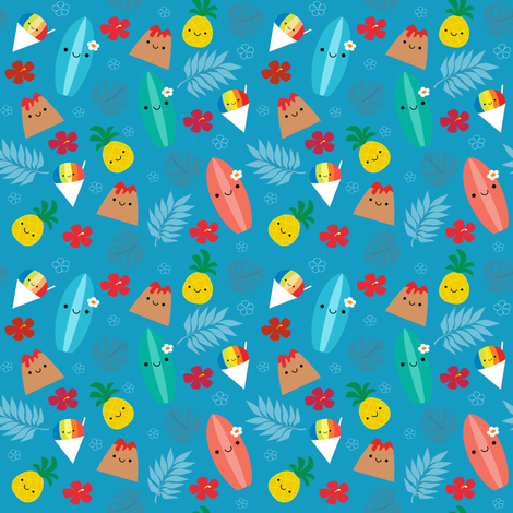 Happy Island Friends fabric by clayvision on Spoonflower - custom fabric