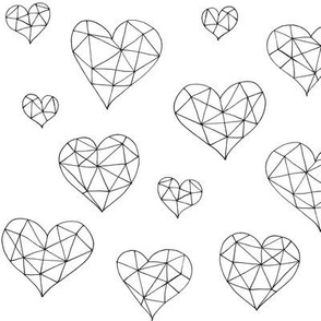 Geometric hearts white