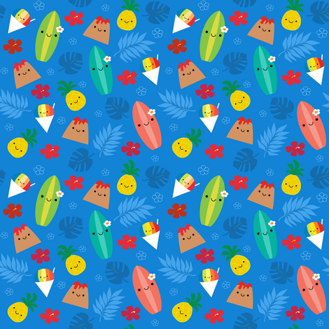 Happy Island Friends Blue fabric by clayvision on Spoonflower - custom fabric