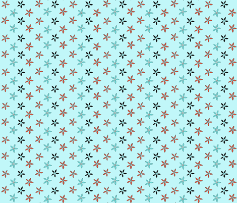 Flowers_from_Kircudbright_coral_on_blue fabric by amanda_jane_textiles on Spoonflower - custom fabric