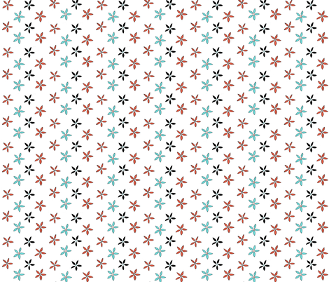 Flowers_from_Kircudbright_coral_on_white fabric by amanda_jane_textiles on Spoonflower - custom fabric