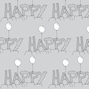 Happy balloons grey