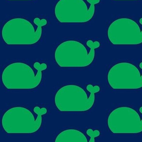 Whale - Green and Navy Blue