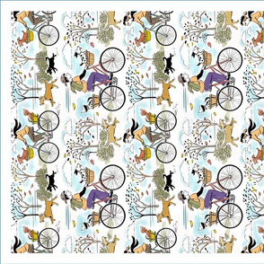 Bicycle Dogs Tea Towel