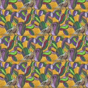 Quail and Prickly Pear Cactus