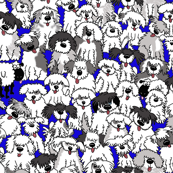 TINY Sheepdogs on watch Fabric cobalt BLUE