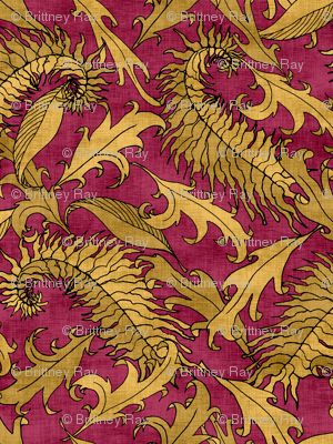 Golden Leaves on Ruby Red