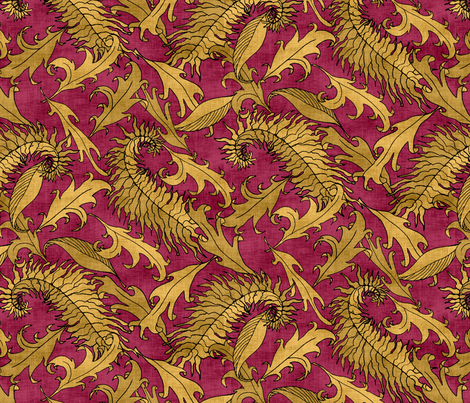 Golden Leaves on Ruby Red fabric by pond_ripple on Spoonflower - custom fabric