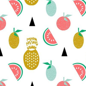 tropical summer fruits pineapple watermelon citrus tri scandi minimal kids design