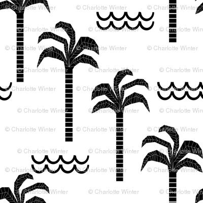 palm trees black and white minimal summer scandi kids hipster leggings design