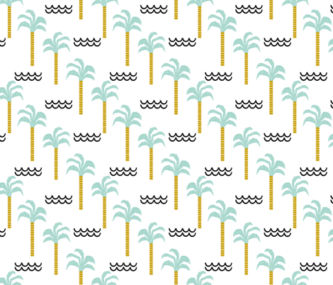 palm tree and waves -summer beach design with minimal scandi design fabric by charlottewinter on Spoonflower - custom fabric
